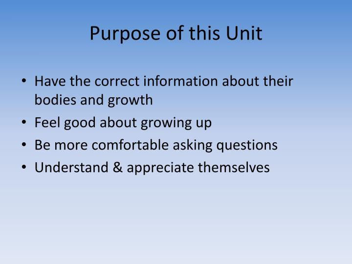 Purpose of this Unit
