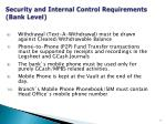 security and internal control requirements bank level1