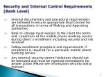 security and internal control requirements bank level2