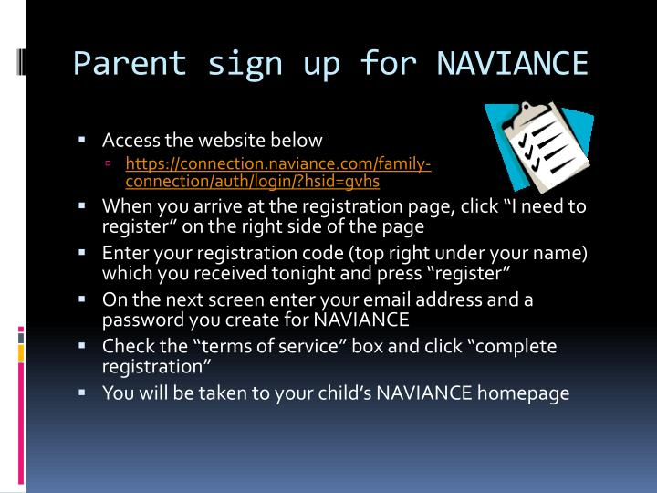 Parent sign up for NAVIANCE