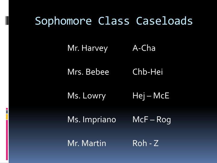 Sophomore class caseloads