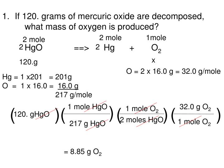 If 120. grams of mercuric oxide are decomposed, what mass of oxygen is produced?