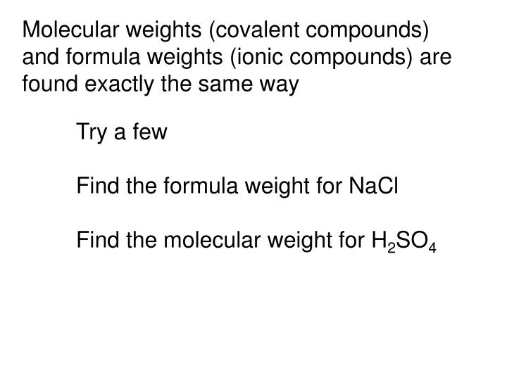 Molecular weights (covalent compounds)