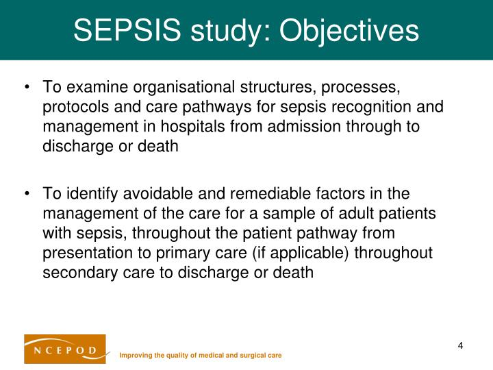 SEPSIS study: Objectives
