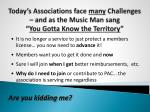 today s associations face many challenges and as the music man sang you gotta know the territory