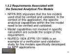 1 5 2 requirements associated with the selected analytical fire models1