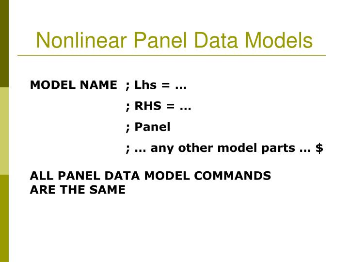 Nonlinear Panel Data Models
