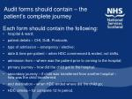 audit forms should contain the patient s complete journey