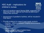 hdc audit implications for children s nurses