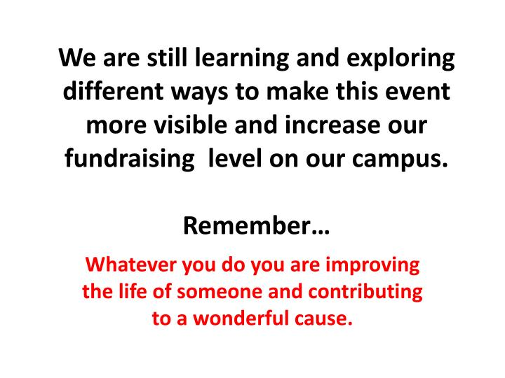 We are still learning and exploring different ways to make this event more visible and increase our fundraising  level on our campus.