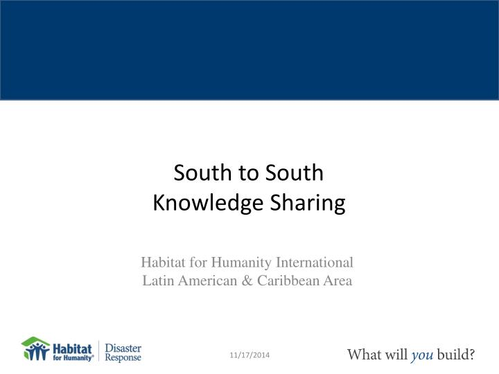 South to south knowledge sharing