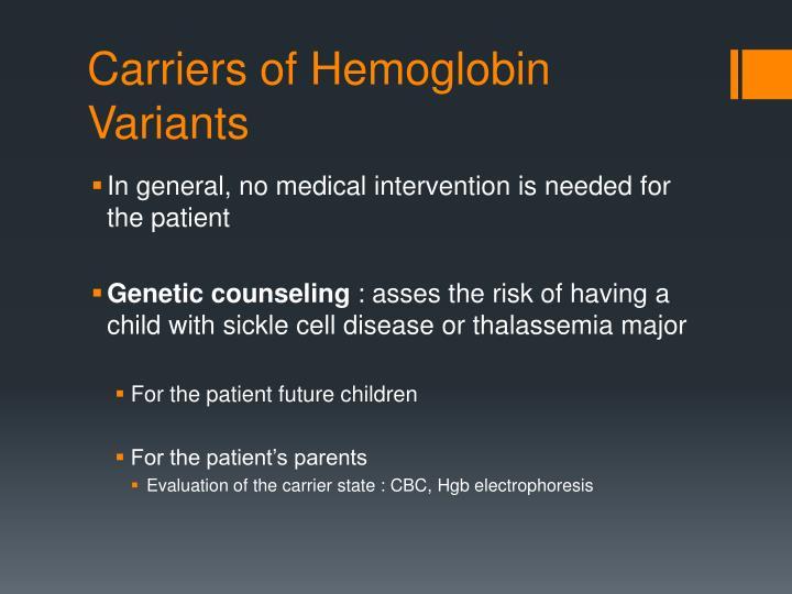 Carriers of Hemoglobin Variants
