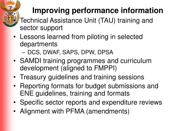 Improving performance information