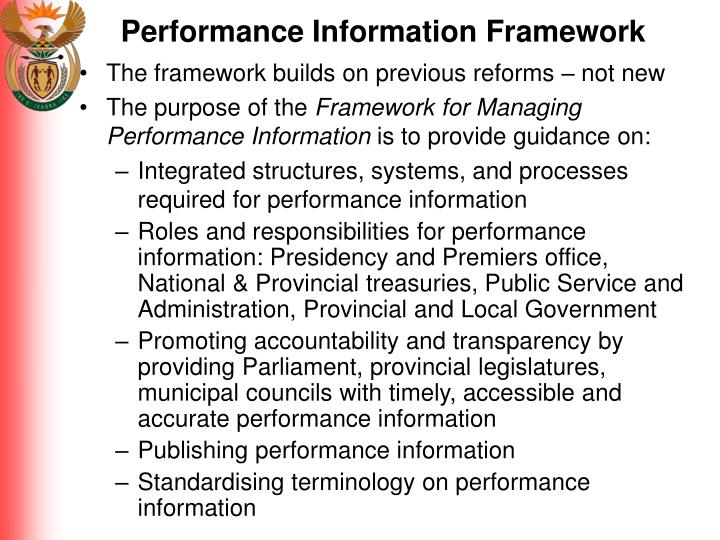 Performance Information Framework