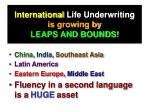 international life underwriting is growing by leaps and bounds