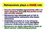 reinsurance plays a huge role