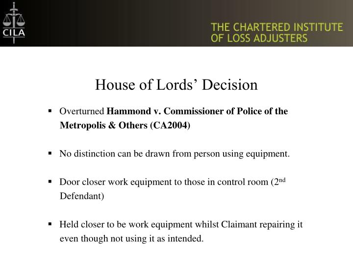 House of Lords' Decision