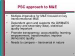 psc approach to m e
