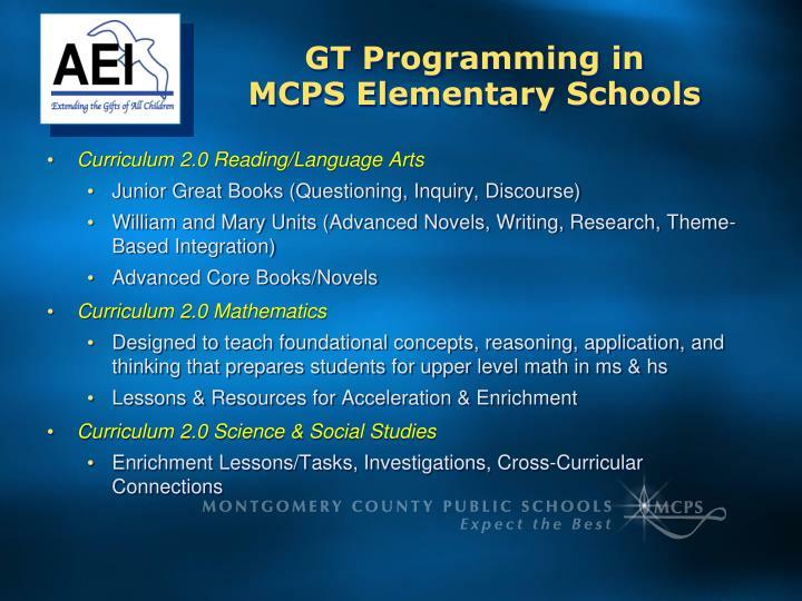 Gt programming in mcps elementary schools1