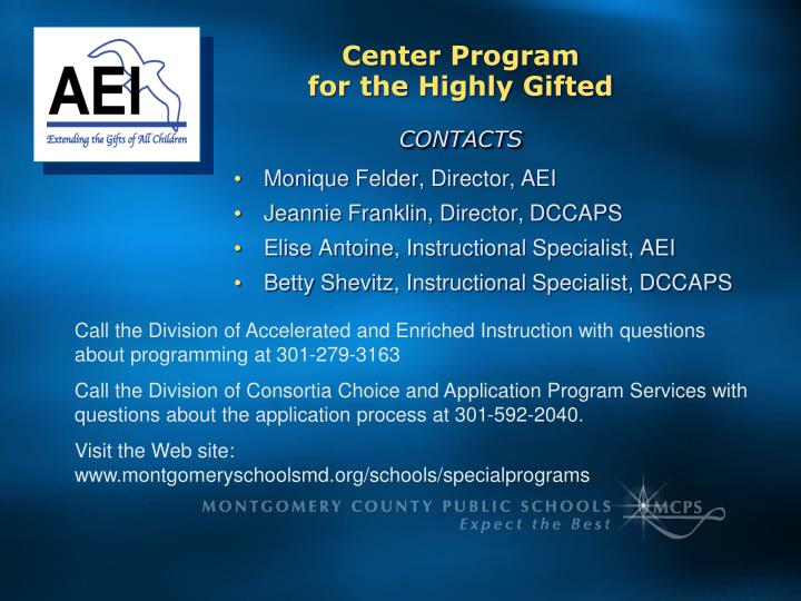 Center Program