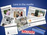 lore i n the media