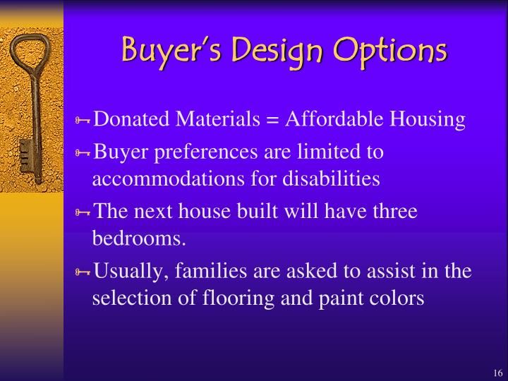Buyer's Design Options