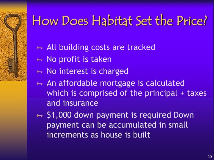 How Does Habitat Set the Price?