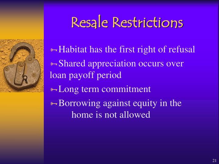 Resale Restrictions