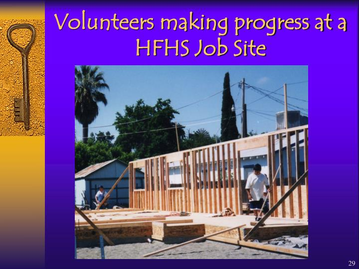 Volunteers making progress at a HFHS Job Site