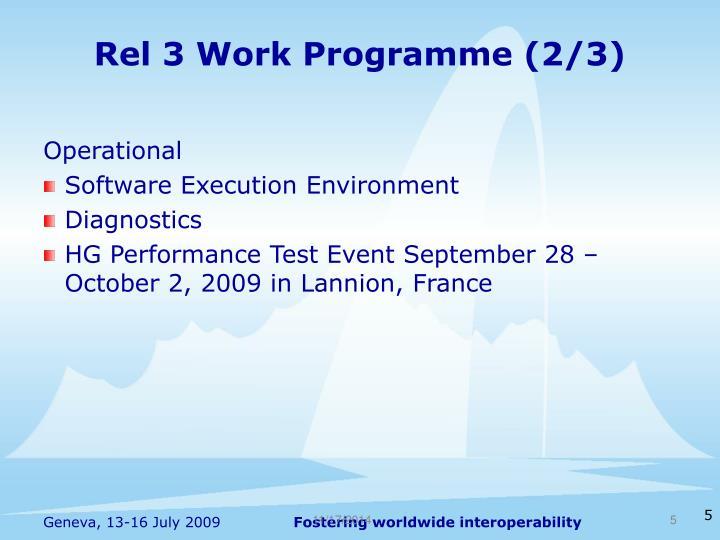 Rel 3 Work Programme (2/3)