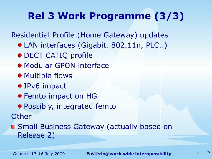 Rel 3 Work Programme (3/3)