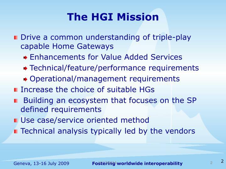 The hgi mission