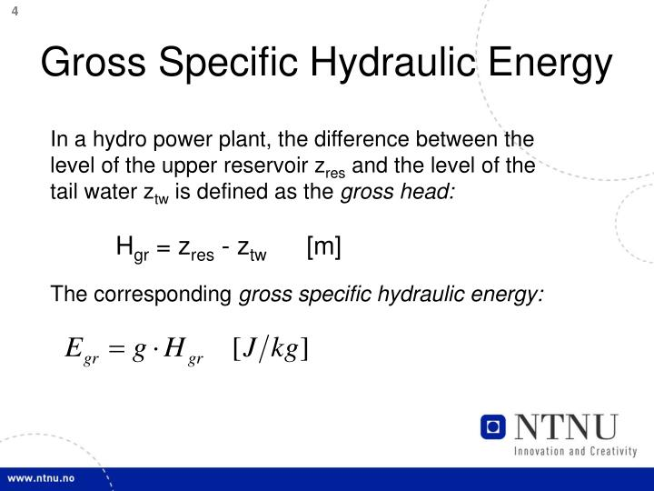 Gross Specific Hydraulic Energy