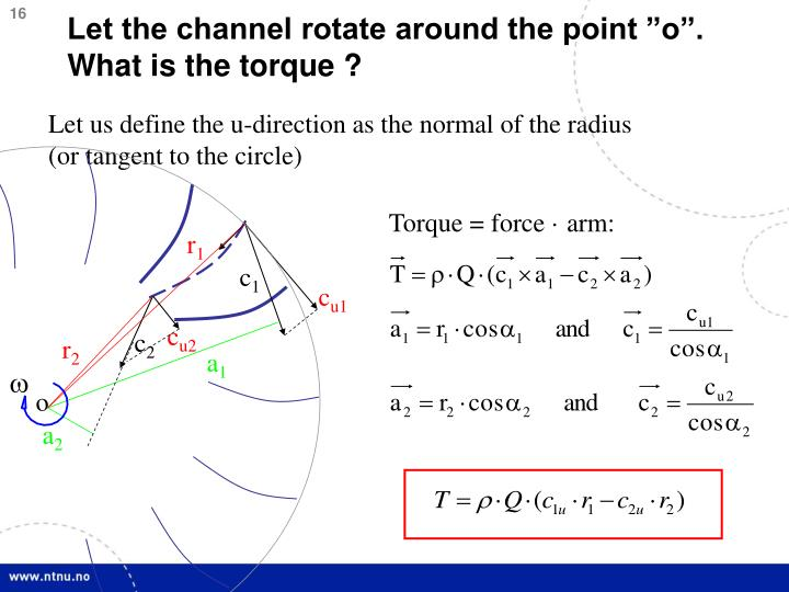 "Let the channel rotate around the point ""o"". What is the torque ?"