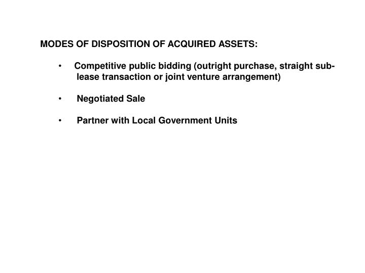 MODES OF DISPOSITION OF ACQUIRED ASSETS: