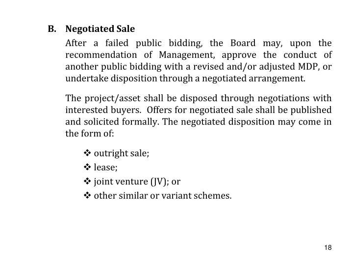 Negotiated Sale