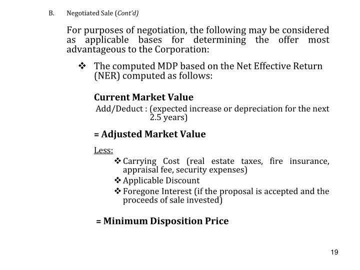 B.Negotiated Sale (