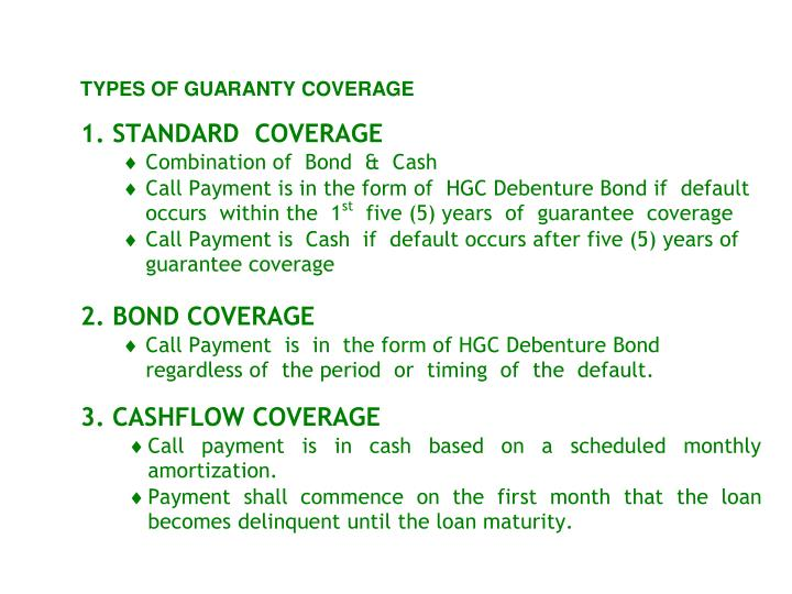 TYPES  OF  GUARANTEE COVERAGE