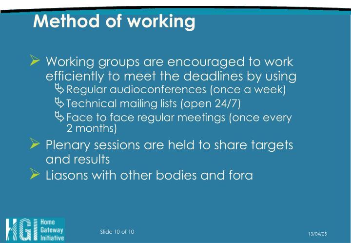 Method of working