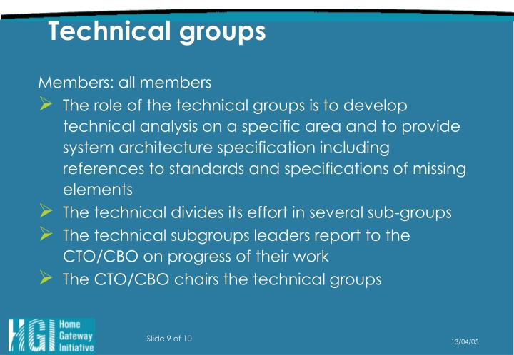 Technical groups
