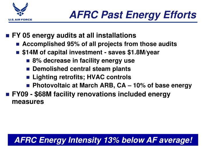 AFRC Past Energy Efforts