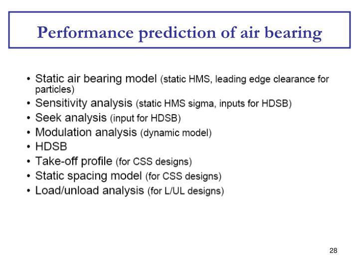 Performance prediction of air bearing