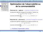 optimisation de l observabilit ou de la commandabilit