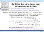 synth se des correcteurs pour commande multicrit re