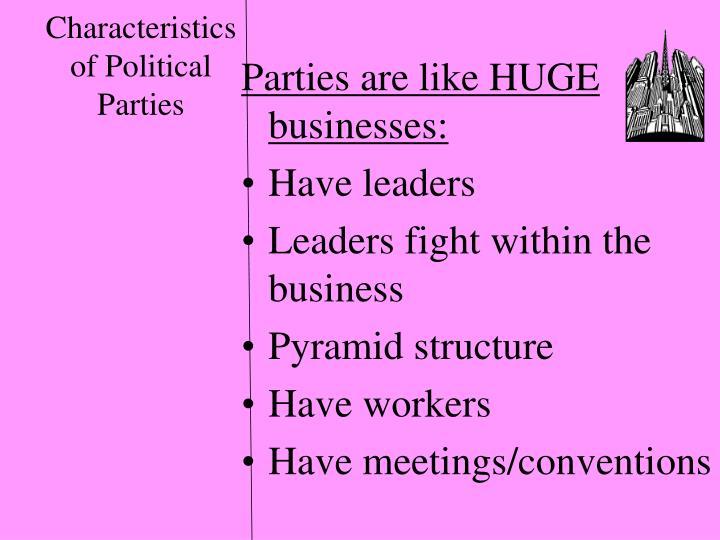 Characteristics of Political Parties