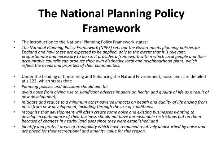 The National Planning Policy Framework