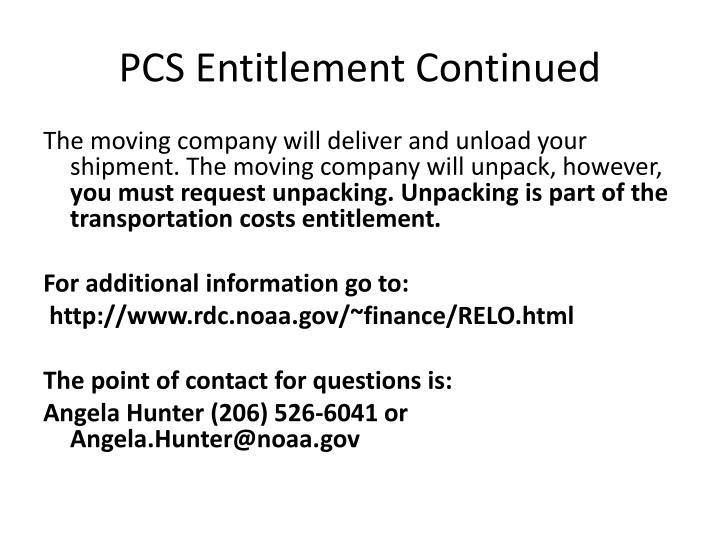 Pcs entitlement continued