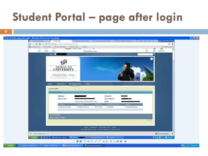 Student Portal – page after login