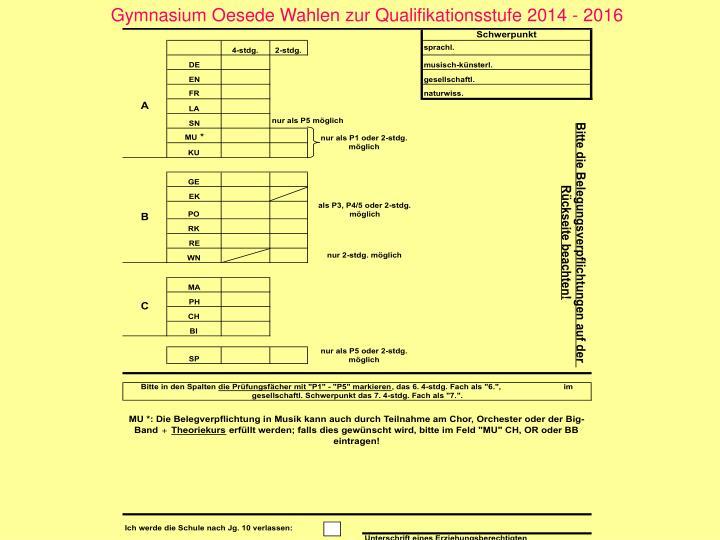 Gymnasium Oesede Wahlen zur Qualifikationsstufe 2014 - 2016