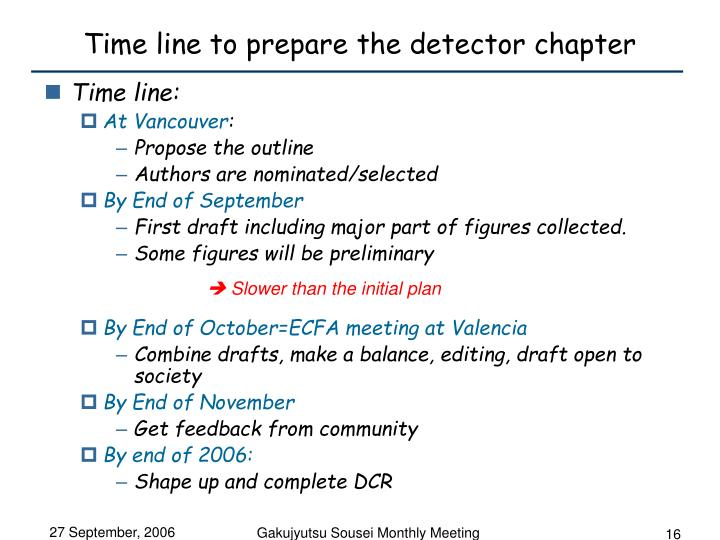 Time line to prepare the detector chapter